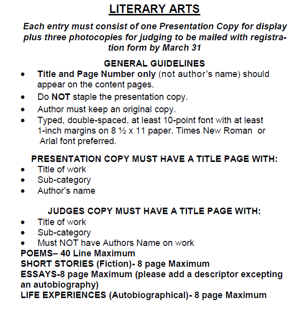 Literary Arts Guidelines