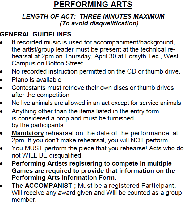 Performing Arts Guidelines