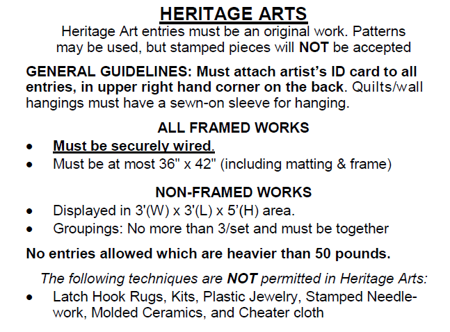 Heritage Arts Guidelines