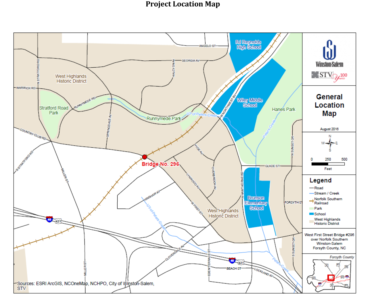 West First Street Bridge Construction Project Location Map
