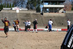 Flag football players prepare for a game
