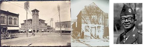 Collage of Historical Photos - an Old Downtown Area, a House, and a Soldier